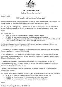 Media Release Bellevue Heights Tennis Club